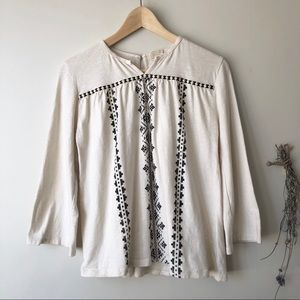 Zara Girl | Contrast Embroidered Flared Top Cream